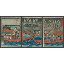 Utagawa Hiroshige: Enjoying the evening Cool under the Ryogoku Bridge in the eastern Capital - The Art of Japan