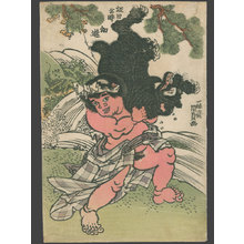 歌川国貞: Kintoki wrestles with his Animal Companion, the Bear (Sakata Kintoki) - The Art of Japan