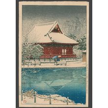 川瀬巴水: Snow at Shinobazu Benten Shrine - The Art of Japan