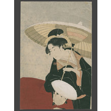 長喜: Beauty in the snow and her servant - The Art of Japan