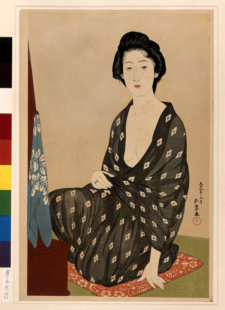 橋口五葉: Nakatani Tsuru dressing - 大英博物館 - 浮世絵検索