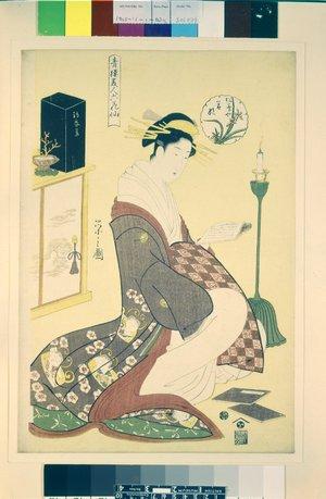 Hosoda Eishi: Matsubaya Wakana 松葉や若那 (Wakana of Matsubaya) / Seiro bijin rokkasen 青楼美人六花仙 (The Six Poetic Beauties of the Green Houses) - British Museum