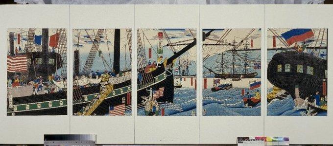 歌川貞秀: Yokohama koeki seiyojin nimotsu unso no zu - 大英博物館