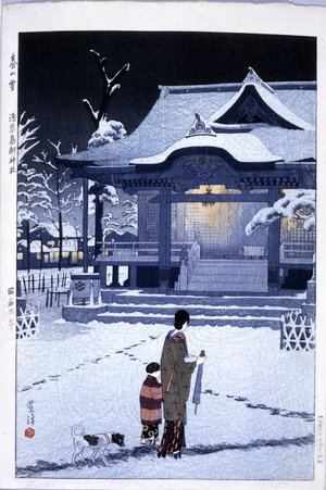 笠松紫浪: Haru no yuki - Asakusa Torigoe jinja (Spring Snow - The Torigoe Shrine at Asakusa) - 大英博物館