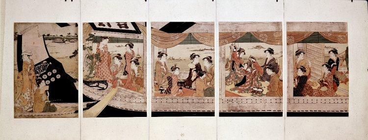 Hosoda Eishi: pentaptych print - British Museum