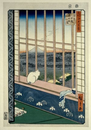 歌川広重: No 101 Asakusa tambo Tori-no-machi mairi / Meisho Edo Hyakkei - 大英博物館