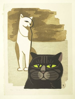Inagaki Tomoo: White Cat and Black Cat - British Museum