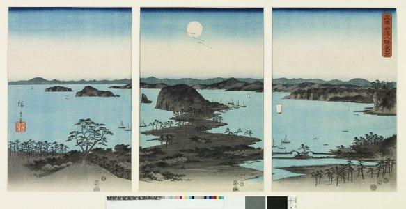 Utagawa Hiroshige: Buyo Kanazawa hassho yakei 武陽金澤八勝夜景 (A night view of the eight great places of Kanazawa, Buyo) / Setsugekka 雪月花 (Snow, Moon and Flowers) - British Museum