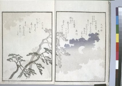 魚屋北渓: Sansai tsuki hyakushu 三才月百首 (Three Aspects of the Moon in a Collection of One Hundred Verses) - 大英博物館