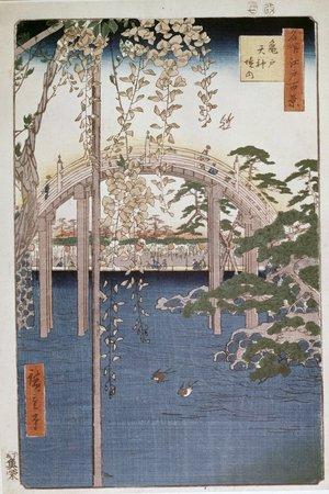 Utagawa Hiroshige: Kameido Tenji keidai 亀戸天神境内 (Wistaria at Kameido Tenjin Shrine) / Meisho Edo hyakkei 名所江戸百景 (One Hundred Famous Views in Edo, No. 57) - British Museum