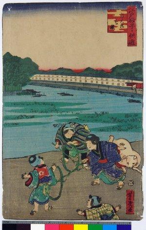 落合芳幾: Edo sunago no tomo-asobi 江戸砂子々供遊 - 大英博物館