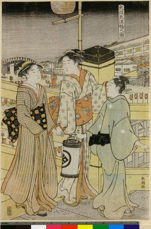 勝川春潮: Osaka Temma-bashi no zu - 大英博物館