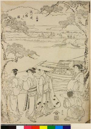 勝川春山: Sanmai-zuzuki Yodo-gawa tsutsumi Hachiman yo no zu - 大英博物館