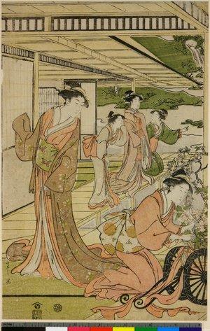 Hosoda Eishi: triptych print - British Museum