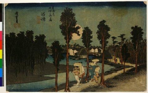 Utagawa Hiroshige: No 13,Numazu Tasogare-zu / Tokaido Gojusan-tsugi no uchi - British Museum