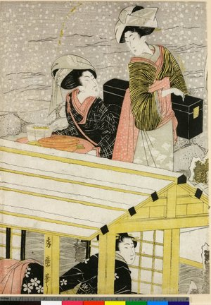 喜多川秀麿: triptych print - 大英博物館
