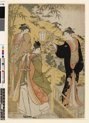 鳥居清長: triptych print (part) - 大英博物館