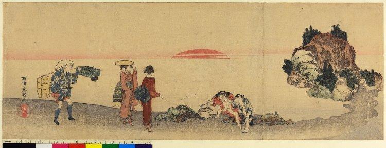 葛飾北斎: surimono (?) / diptych print - 大英博物館