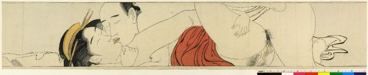 鳥居清長: Sode no maki (Handscroll for the Sleeve) - 大英博物館