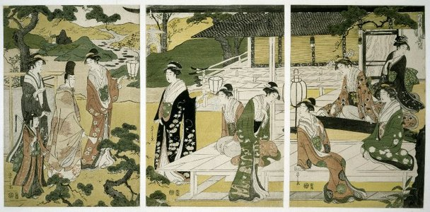 Hosoda Eishi: Matsukaze 松風 (The Wind in the Pines) / Furyu yatsushi Genji 風流やつし源氏 (Genji in Modern Dress) - British Museum