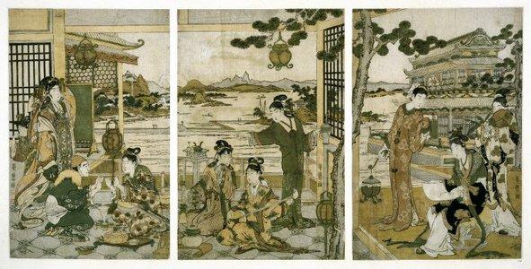 喜多川歌麿: triptych print - 大英博物館