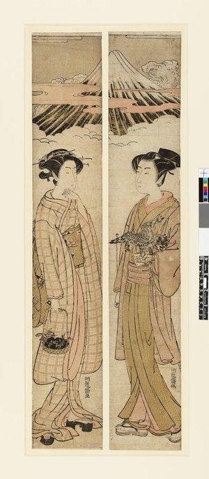 磯田湖龍齋: hashira-e / diptych print - 大英博物館