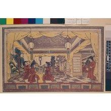 Utagawa Kuninaga: Yoroppa-shu sekizo kyo mokudo jingyo 欧邏巴洲石造供木星人形 (Puppets in a European Stone Hall) / Shinpan Oranda uki-e 新版阿蘭陀浮絵 - British Museum