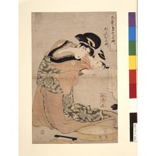 Kitagawa Utamaro: Omu Komachi あふむ小町 (Parrot Komachi) / Futaba-gusa nana Komachi 二葉草七小町 (Little Seedlings: Seven Komachis) - British Museum