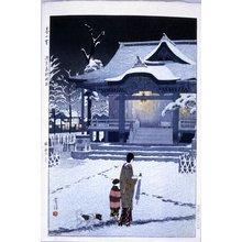 Kasamatsu Shiro: Haru no yuki - Asakusa Torigoe jinja (Spring Snow - The Torigoe Shrine at Asakusa) - British Museum