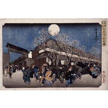 Utagawa Hiroshige: Yoshiwara naka no machi yoru-zakura / Toto Meisho - British Museum