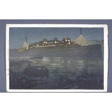 吉田博: Minato no yoru (Night in the Harbor) - 大英博物館