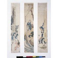 葛飾北斎: triptych print / tanzaku / print - 大英博物館