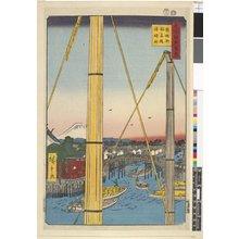 歌川広重: No 77 Teppozu Inaribashi Minato Jinja / Meisho Edo Hyakkei - 大英博物館