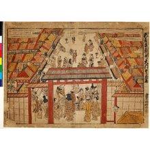 西村重長: Shin-Yoshiwara Kocho-machi Daimon-guchi - 大英博物館