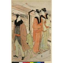 勝川春潮: triptych print (?) - 大英博物館