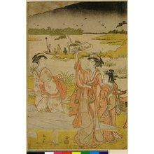 勝川春山: triptych print (?) - 大英博物館