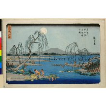 Utagawa Hiroshige: Tamagawa aki no tsuki ayu-gari no zu / Meisho Setsu Gekka - British Museum