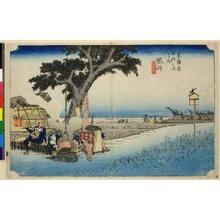 Utagawa Hiroshige: No 28 Fukuroi de-chaya no zu (Outdoor Tea-stall at Fukuroi) / Tokaido Gojusan-tsugi no uchi - British Museum