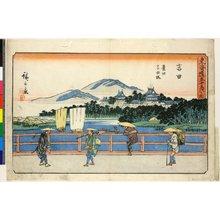 Utagawa Hiroshige: No 35 Yoshida Toyokawa Yoshida-bashi / Tokaido Gojusan-tsugi no uchi - British Museum