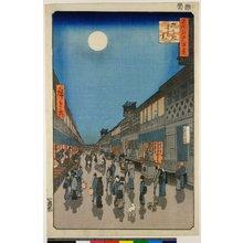 歌川広重: No 90 Saruwaka-cho yoru no kei / Meisho Edo Hyakkei - 大英博物館