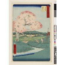 歌川広重: No 45 Ishiyakushi Yoshitsune no sakura / Gojusan-tsugi Meisho Zue - 大英博物館