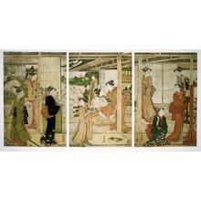 勝川春潮: triptych print - 大英博物館