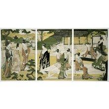 細田栄之: Matsukaze 松風 (The Wind in the Pines) / Furyu yatsushi Genji 風流やつし源氏 (Genji in Modern Dress) - 大英博物館