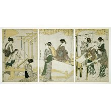 Kitagawa Utamaro: Joshoku kaiko tewaza-gusa - Ju, juichi, juni (Women Engaged in the Sericulture Industry, Nos. 10-12) - British Museum