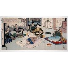 月岡芳年: Tanjo Daihitsu, Uesugi Kenshin 弾正大弼 上杉謙信 (Useugi Kenshin and the Blind Biwa Player) - 大英博物館