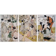 Kitagawa Utamaro: Suri-ko, mise-saki, shinpan-kubari 摺工•店先•新板くばり (Woodblock Printer, [Print Shop], Distributing New Prints) / Edo meibutsu nishiki-e kosaku 江戸名物錦画耕作 (The Cultivation of Brocade Prints, A Famous Product of Edo) - British Museum