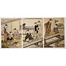 窪俊満: triptych print / benigirai-e - 大英博物館