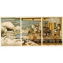 Utagawa Hiroshige: Taira no Kiyomori kai-i o miru zu 平清盛怪異を見る図 - British Museum