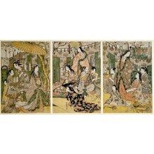 Kitagawa Utamaro: Taiko gosai rakuto yukan no zu 太閤五妻洛東遊観之図 (Picture of Hideyoshi and his Five Wives Viewing the Cherry-blossom at Higashiyama) - British Museum