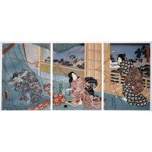 歌川国貞: Niwaka yu-dachi にワカ夕立 (A sudden summer shower) - 大英博物館
